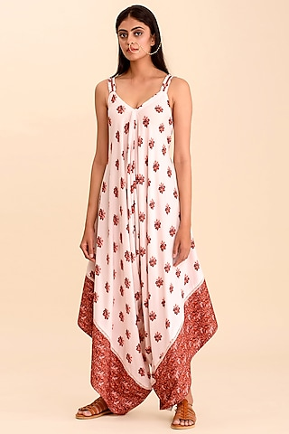 Pink Printed Palazzo Jumpsuit by Pasha