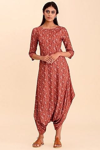 Red Printed Dhoti Jumpsuit by Pasha