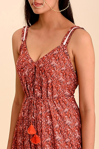 Red Printed Strappy Jumpsuit by Pasha