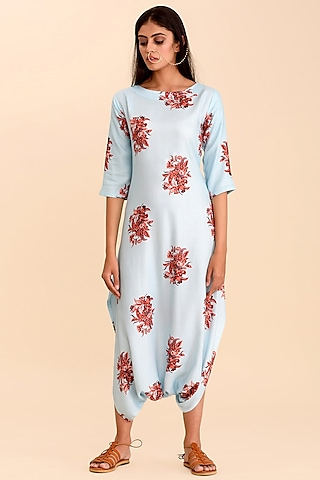Sky Blue Printed Dhoti Jumpsuit by Pasha