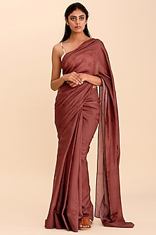 Plum Printed Bamboo Crepe Saree by Pasha