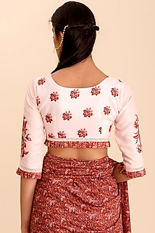 Pink Printed Crop Top by Pasha