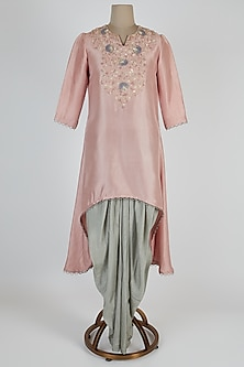 Light Pink Embroidered Kurta With Mint Green Pants by Prisho