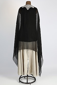 Black Embroidered Cape Set by Prisho