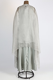 Mint Green Embroidered Cape Set by Prisho