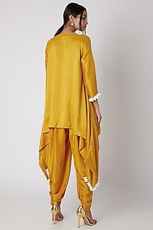 Mustard Silk Kurta With Patiala Pants by Prisho