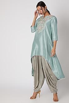 Jade Green Silk Kurta With Grey Patiala Pants by Prisho