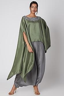 Hunter Green Silk Kurta With Grey Pants by Prisho