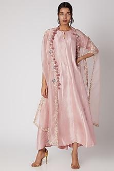 Flamingo Pink Silk Kurta With Jacket by Prisho