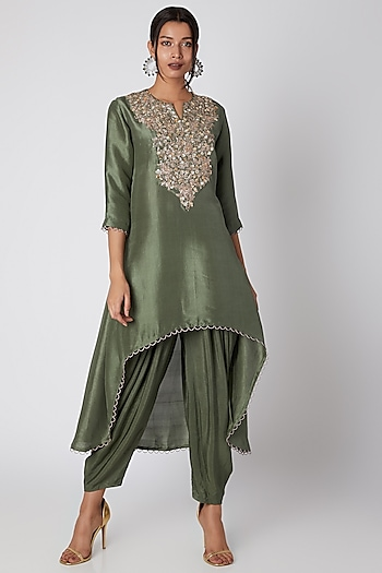 Hunter Green Silk Kurta With Patiala Pants by Prisho