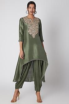 Hunter Green Silk Kurta With Patiala Pants by Prisho-READY TO SHIP