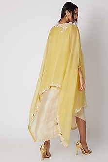 Lemon Yellow Ombre Dress With Cape by Prisho