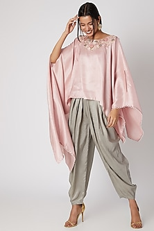 Flamingo Pink Kurta With Grey Drop Crotch Pants by Prisho