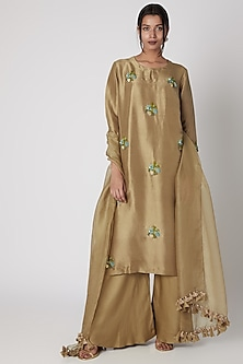 Golden Sharara Set With Intricate Handwork by Prisho