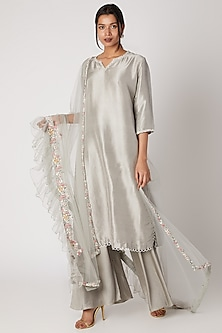Smoke Grey Sharara Set by Prisho