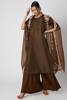 Brown Sharara Set With Anti Fit Jacket by Prisho