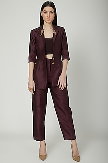 Wine Embroidered Blazer Set by Priyanka Singh