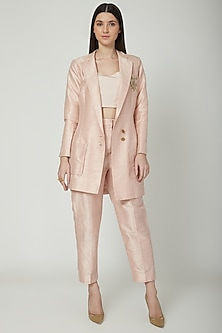 Peach Embroidered Blazer Set by Priyanka Singh