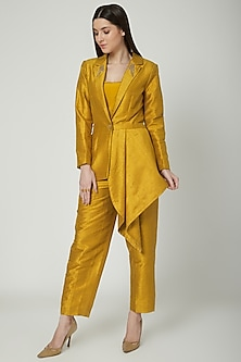 Mustard Embroidered Blazer Set by Priyanka Singh