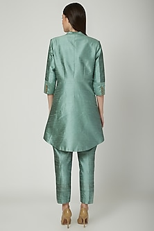 Mint Green Embroidered Blazer Set by Priyanka Singh