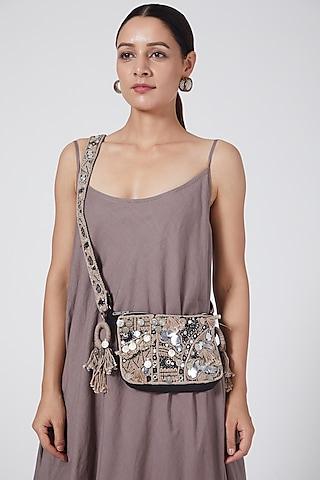 Black Embroidered Bag by Priyanka Singh