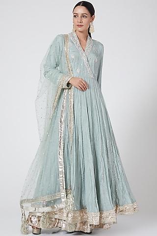 Sky Blue Embroidered Anarkali Set by Priyanka Singh