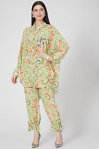 Lime Printed Pant Set With Tie-Ups by Priyanka Singh