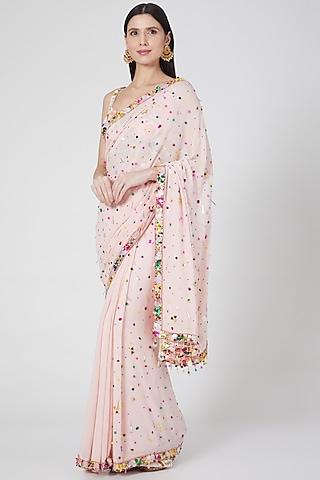 Blush Pink Embroidered Saree Set by Priyanka Singh