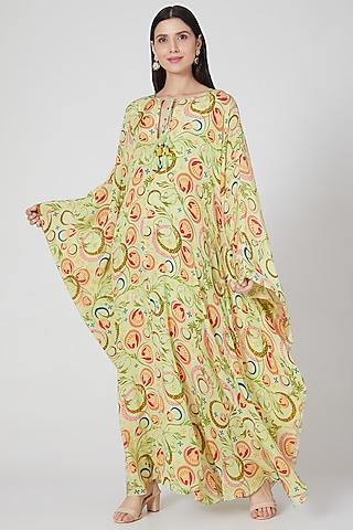Lime Printed Kaftan by Priyanka Singh