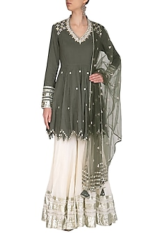 Olive Green Embroidered Kalidar Gharara Set by Priyanka Singh