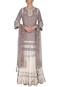 Grey Embroidered Gharara Set by Priyanka Singh