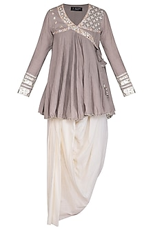 Grey Embroidered Peplum Kurta Set by Priyanka Singh