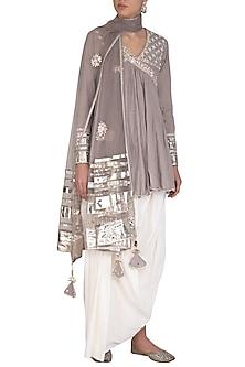 Grey Embroidered Peplum Kurta Set by Priyanka Singh