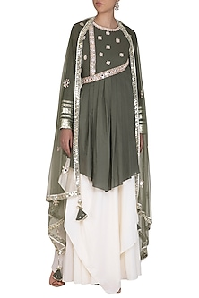 Olive Green Embroidered Layered Kurta Set by Priyanka Singh