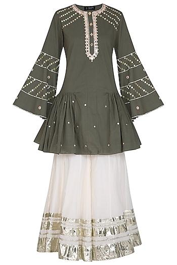 Olive Green Embroidered Pleated Gharara Set by Priyanka Singh