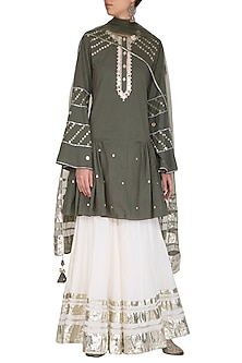 Olive Green Embroidered Pleated Gharara Set by Priyanka Singh
