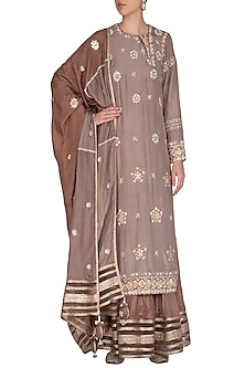 Ash Grey & Brown Embroidered Lehenga Set by Priyanka Singh