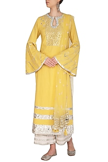 Yellow Embroidered Kurta Set by Priyanka Singh