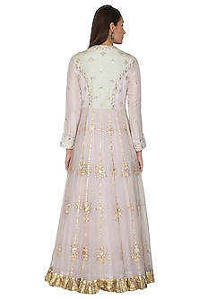 Mauve Embroidered Anarkali With Dupatta by Priyanka Singh
