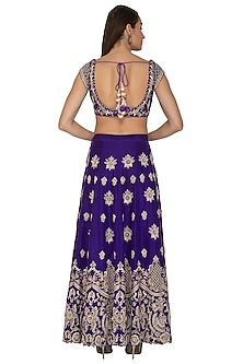 Purple Embroidered Lehenga Set by Priyanka Singh
