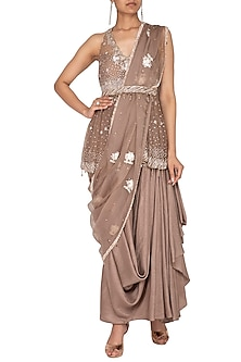 Beige Embroidered Draped Lehenga Set by Priyanka Singh
