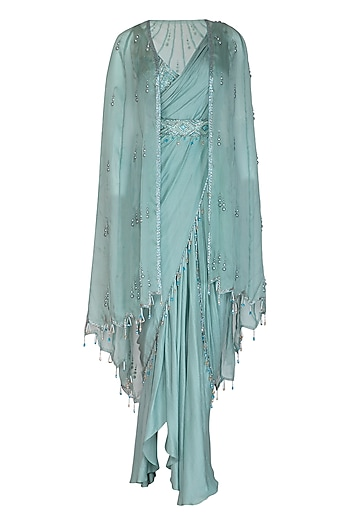 Teal Embroidered Saree Set With Cape & Belt by Priyanka Singh