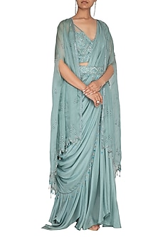 Teal Embroidered Saree Set With Cape & Belt by Priyanka Singh-SHOP BY STYLE