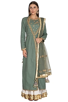 Olive Green Embroidered Lehenga Set by Priyanka Singh