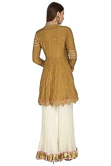 Mustard Yellow Embellished Anarkali Set by Priyanka Singh