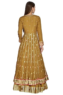 Mustard Yellow Embellished Anarkali Set by Priyanka Singh