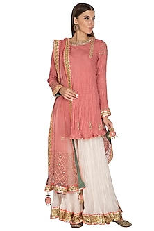 Pink Embroidered Sharara Set by Priyanka Singh