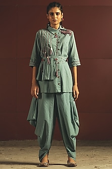 Sky Blue Embroidered Jumpsuit With Belt by Priyanka Singh