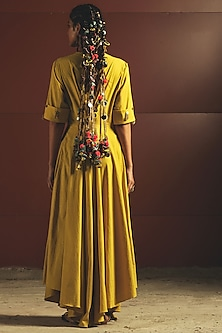 Yellow Embroidered & Pleated Jumpsuit by Priyanka Singh