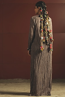 Grey Embroidered Jacket Set by Priyanka Singh